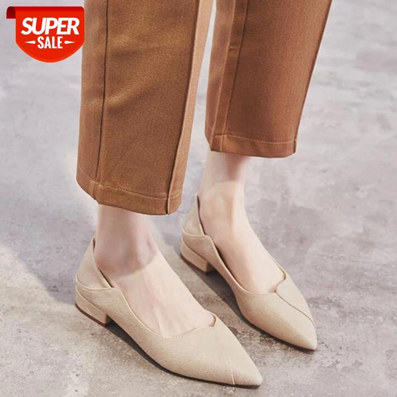 Ladies Pointed Shoes Retro Women's Fashion Leather Bottom with Single Y945 #eR5B