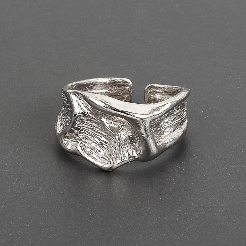Korean ins design dark wrinkle texture for women with irregular concave convex surface and versatile ring
