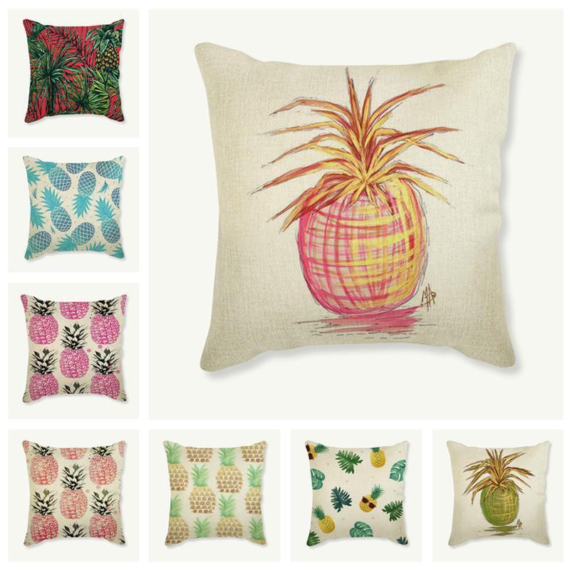 Pineapple Pillow Case 45x45 Cm Decorative Cotton Linen Cushion Cover Sofa Car Square Pillowcase Home Decor Almofadas Fundas Cushion/Decorati