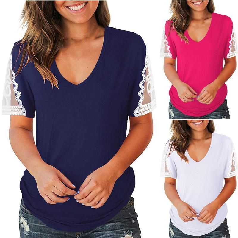 Yaz T Gömlek Moda Kadınlar Katı Renk Dantel Patchwork V Yaka T-shirt Bayanlar Rahat Kısa Kollu Vintage Giysileri Kadınlar Tops