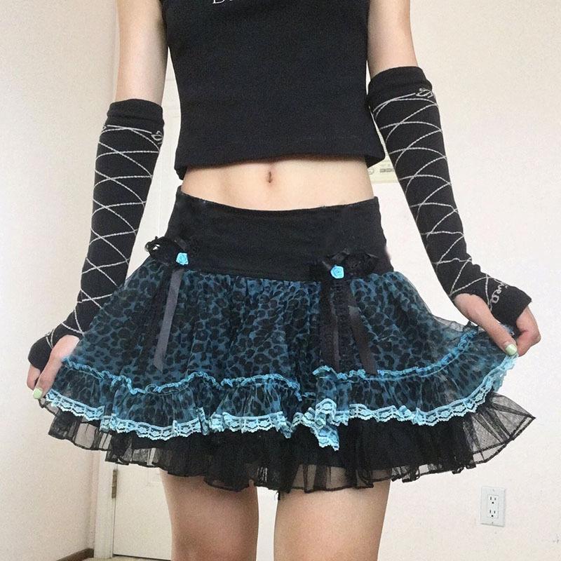 Шестайл готические кружева плиссированные юбки женщины 2021 весна высокая талия лук боковая молния пряжа сетки леопардовые школьные наряды одежды для одежды доставки по воздуху