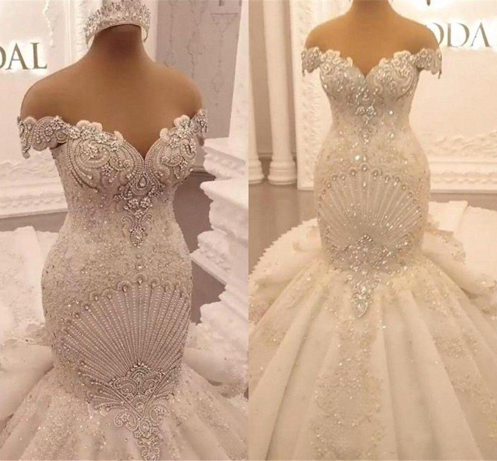Luxo apliques lace sereia vestidos de casamento 2022 princesa fora do ombro cristal backless ruffles catedral trem árabe dubai vestido nupcial