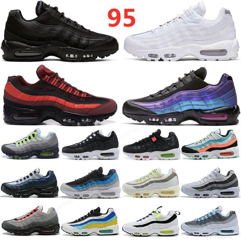 95 Laufschuhe Triple Black White Laser Fuchsia Rote Orbit Bred Aqua Neon 95s Männer und Frauen Trainer Sport Sneakers Größe 36-45