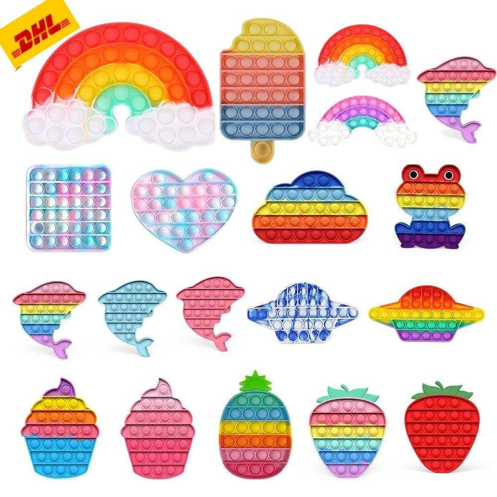 DHL 3-7 Lieferung! 2021 Rainbow Push Blase Blase Time Sensory Spielzeug Stress Reliever Stress Relief Spielzeug Angst Relief Spielzeug für Kinder Geburtstagsfeiergeschenke