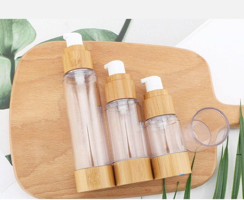 Bambu natural new15ml30ml50ml como a garrafa sem ar cosméticos Cabana transparente Cabana de viagem que transportam garrafas de loção de toner cosméticos EWF7190