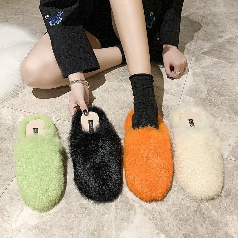 Slipper Fashion Girls Slippers Children Winter Footwear Hairy Indoor Outdoor Sandals Plush Warm Home Shoes Fur Slides Non-slip