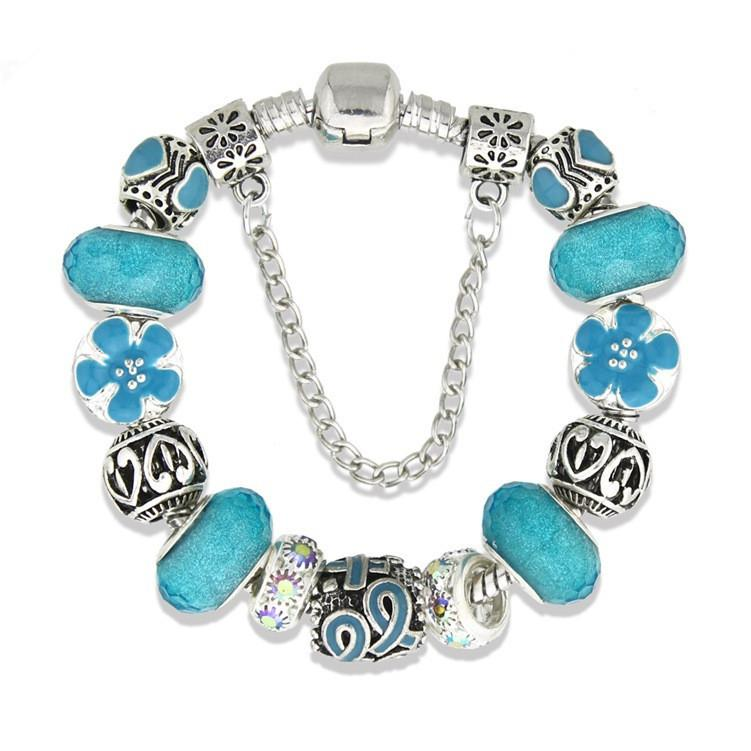 Lake Blue Ribbon Rhinestone Europäische Perlen Charm Armbänder Armreifen Dankbarkeit Ermutigen Pflege Liebe Frauen Schmuck Zubehör