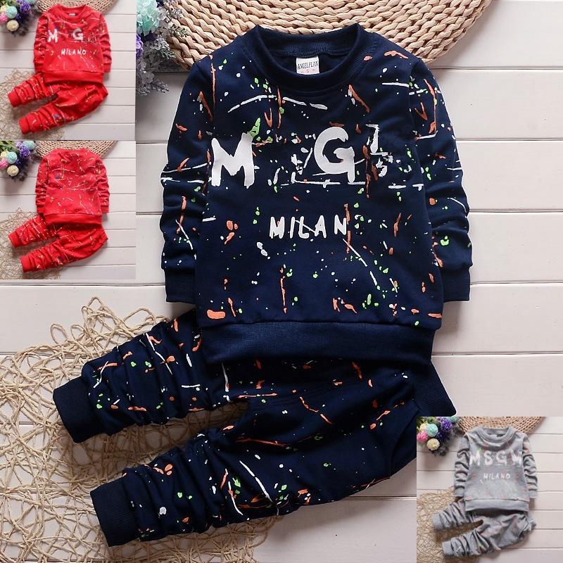 3 Renkler Toddler Bebek Erkek Giysileri T Gömlek + Pantolon Çocuk Eşofman Seti Erkek Spor Sonbahar Çocuk Tasarımcı Giysi Setleri 1-4years