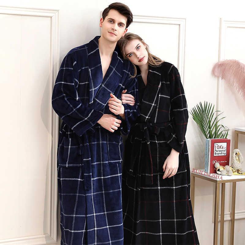 Kadınlar Kış Ekose Artı Boyutu Uzun Flanel Bornoz 40-130 KG Sıcak Banyo Robe Rahat Kimono Cornes Sabahlık Erkek Gece Pijama T200111