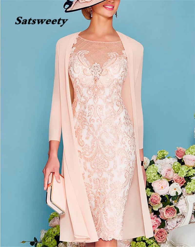 Pink Luxury Beads Mother of the Bride Dresses 3/4 Sleeves Tea Length Lace Wedding Dress with Jacket Formal Evening Gowns