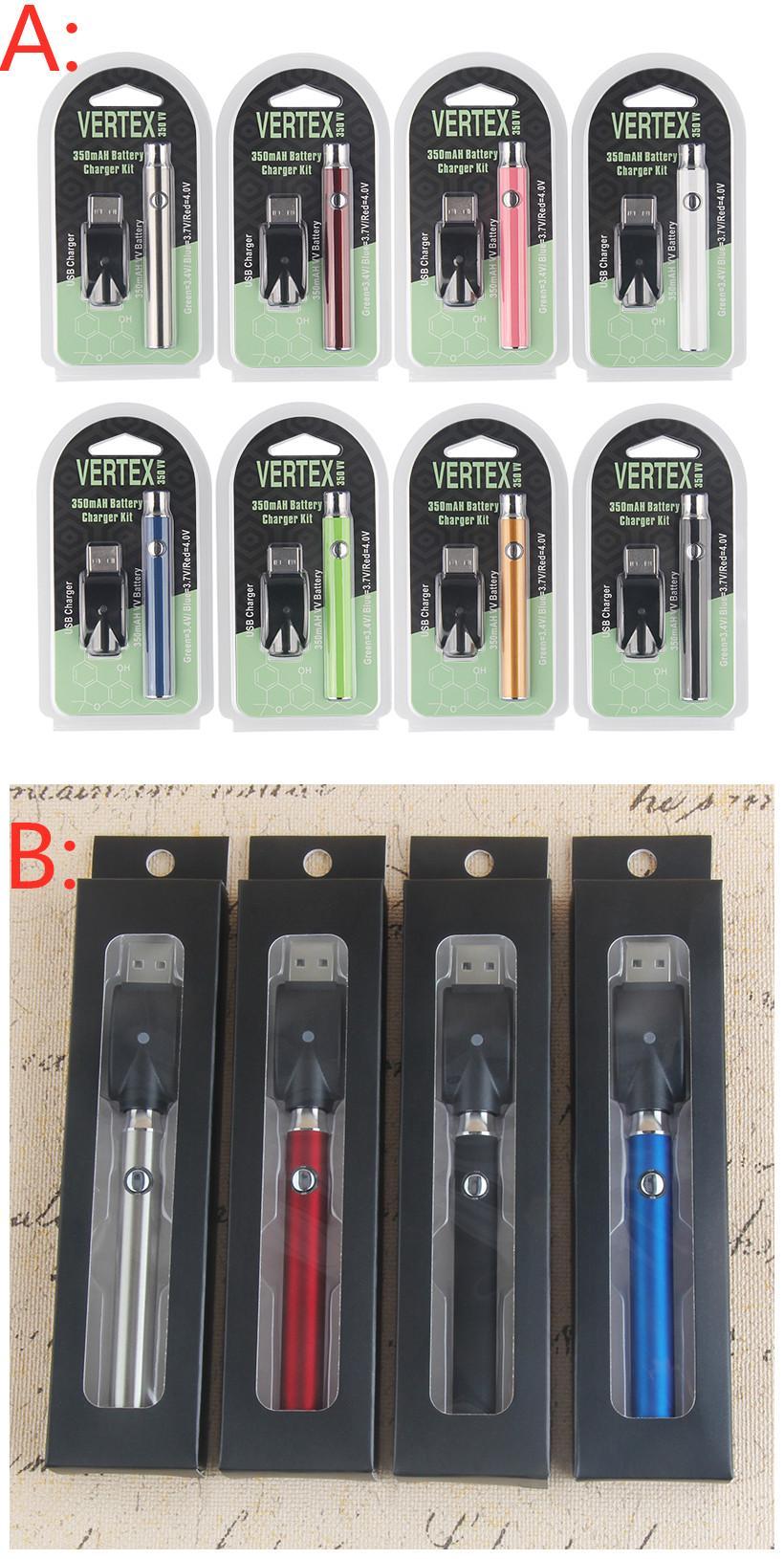 350mAh Precalentamiento de Vape Pens 510 Batería Ajustable Voltaje ECIG Vaping Vaporizador de precalentamiento Kit de cargador de batería Botón 3 TEMP AJUSTE VAPES