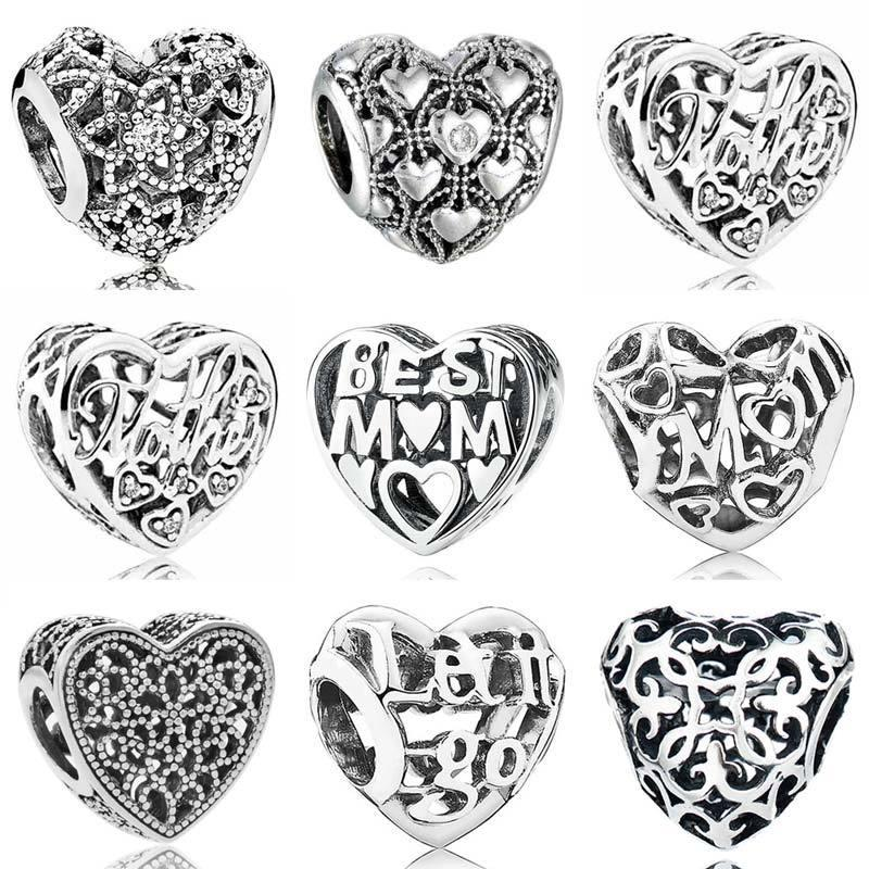 I Love You Mother Blooming Heart Filled With Romance Charm Fit Pandora Bracelet 925 Original Sterling Silver Bead Jewelry