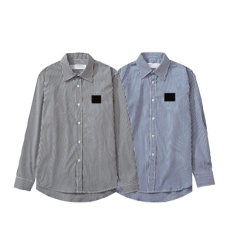 Camisa casual camisa casual camisa listrada padrão único breasted mens manga longa gola de giro toda a temporada unisex