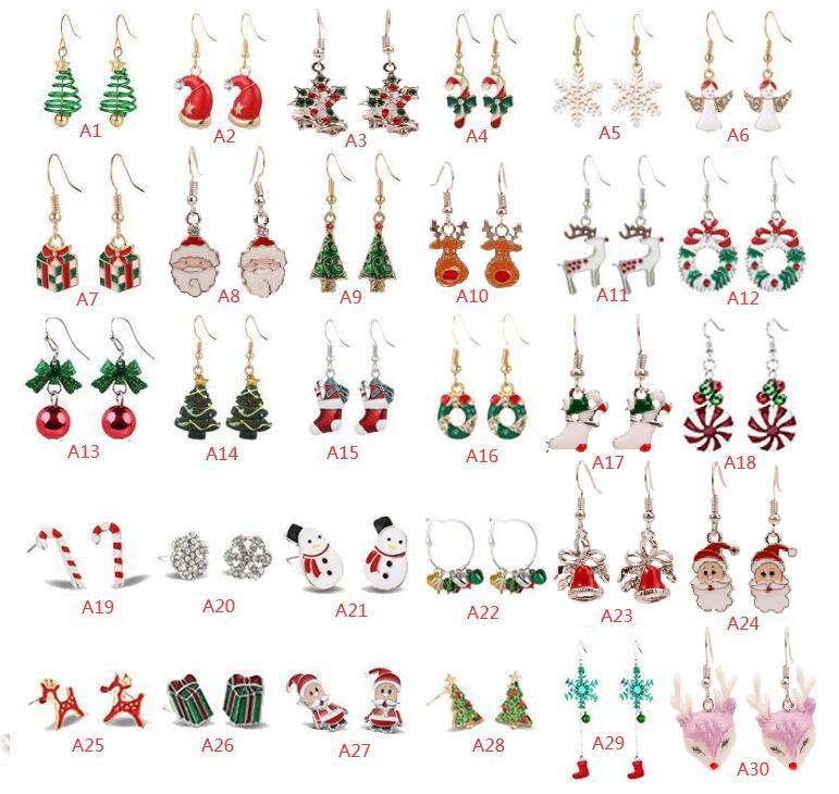 30 스타일 크리스마스 귀걸이 눈송이 엘크 벨 크로스 테두리 캐릭 크리스마 트리 에폭시 구리 귀 후크 펜던트 소녀 패션 선물