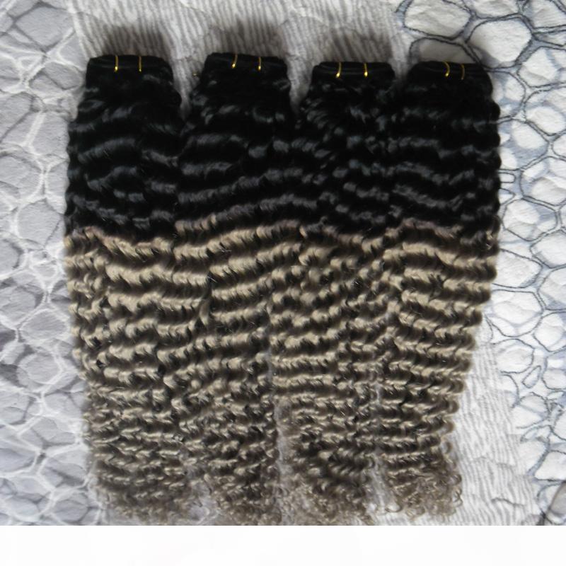 Ombre Grey Hair Weave 4pcs Brazilian curly Bundles 100% Human Hair Extensions T1B Grey Brazilian Hair Weave Bundles