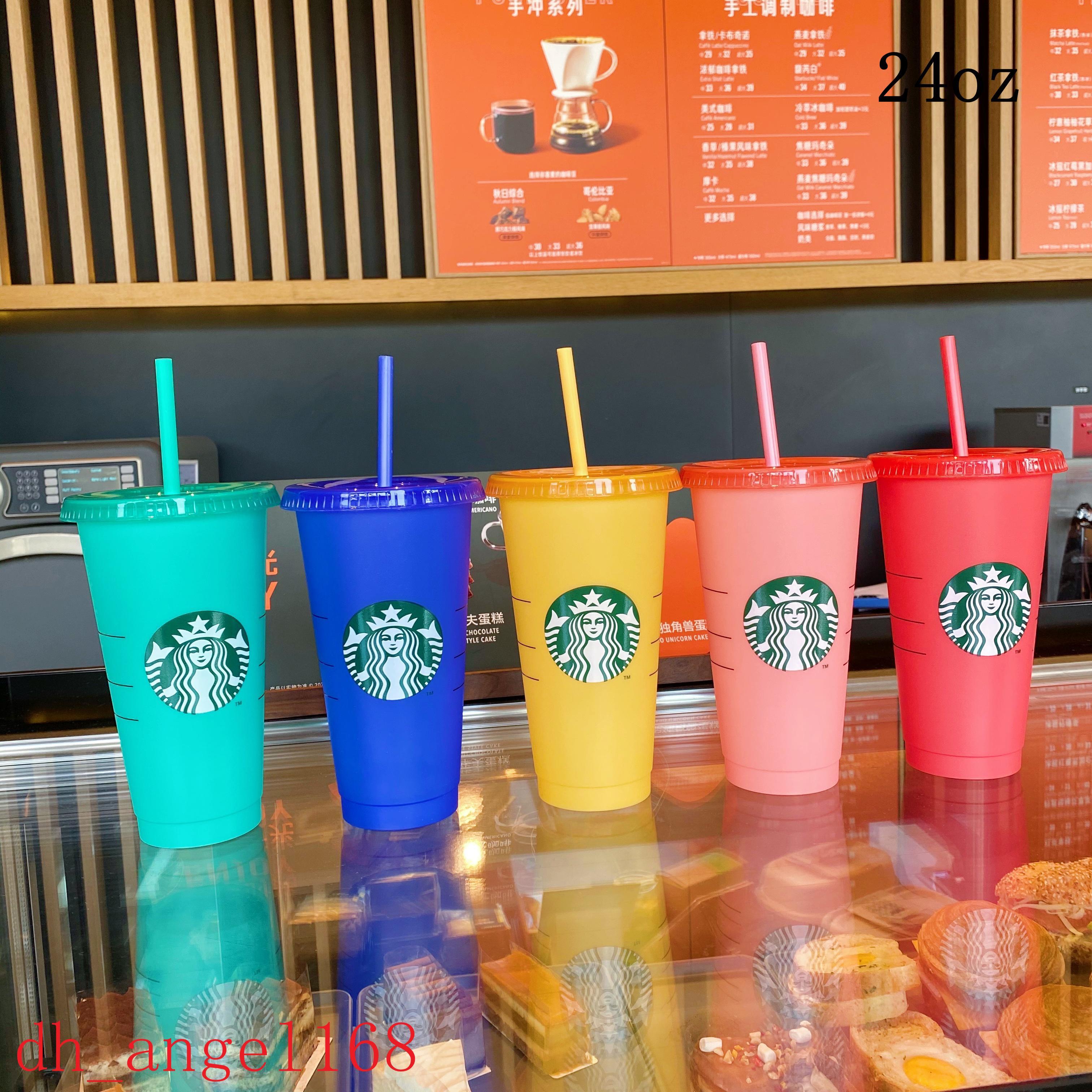50pcs Starbucks 24oz / 710ml Plastica Tumbler Riutilizzabile Bere Bere Bere Piano Flat Bottom Tab Bull Shape Lid Paglia Tazza di paglia Bardian DHL UV La stampa della macchina UV non sbiadisce tazze