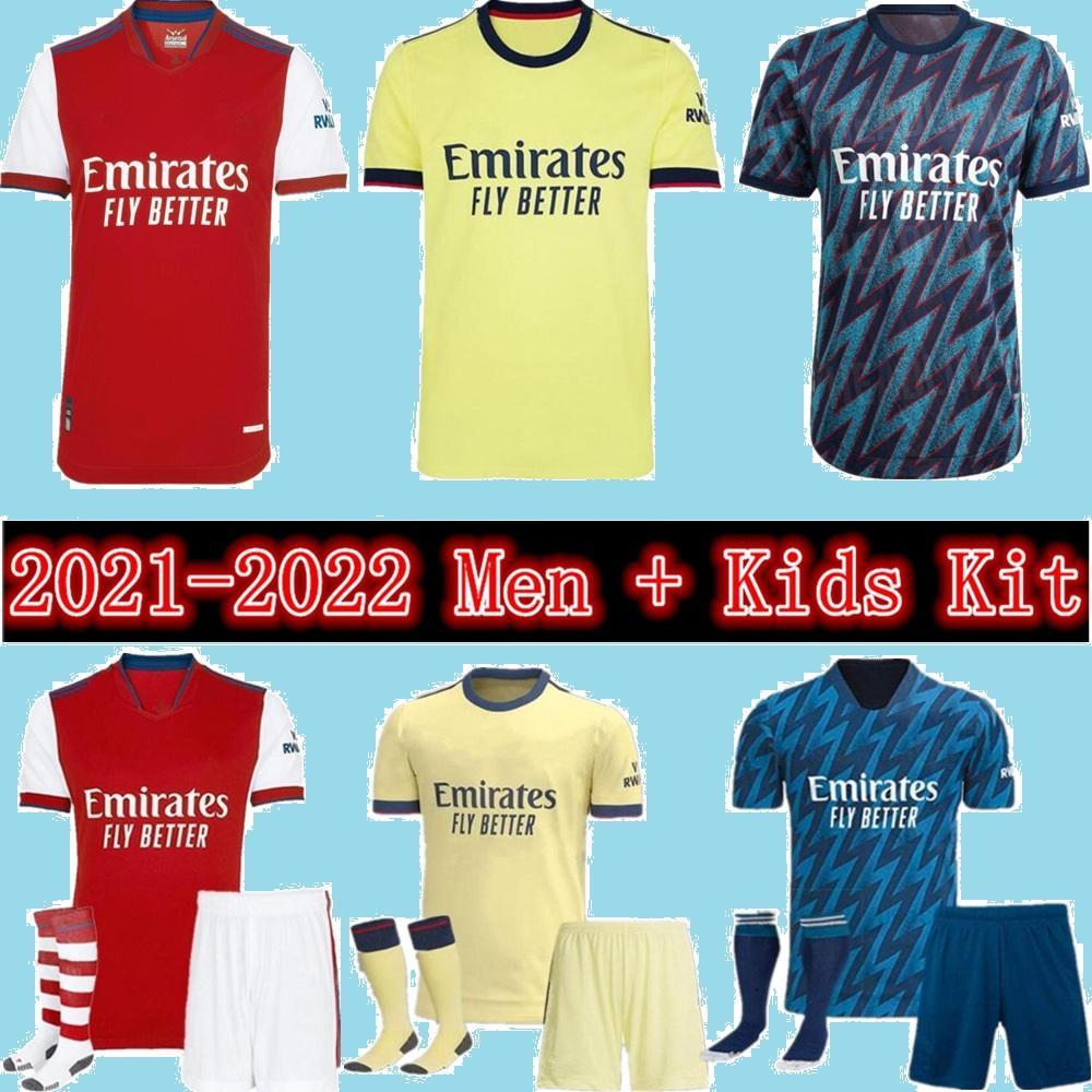 Arsen 21 22 Ødegaard Gunners 홈 멀리 축구 유니폼 2021 Pepe Nicolas Ceballos Smith Rowe Willian Tierney Odegaard Saka Thomas 축구 셔츠 남성 + 키트 키트 유니폼