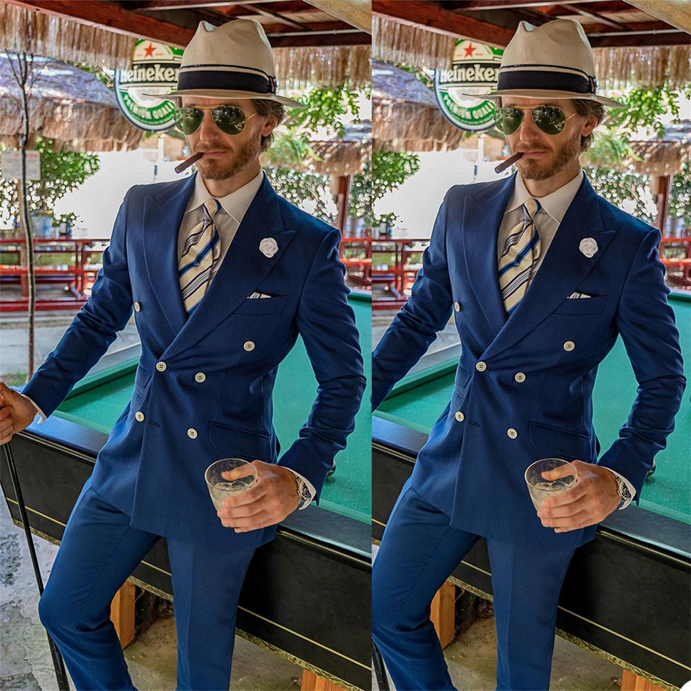Double Breasted Navy Mens Customized Wedding Tuxedos Slim Fit Peaked Lapel Groom Wear Dinner Prom Party Blazer (Jacket+Pants)