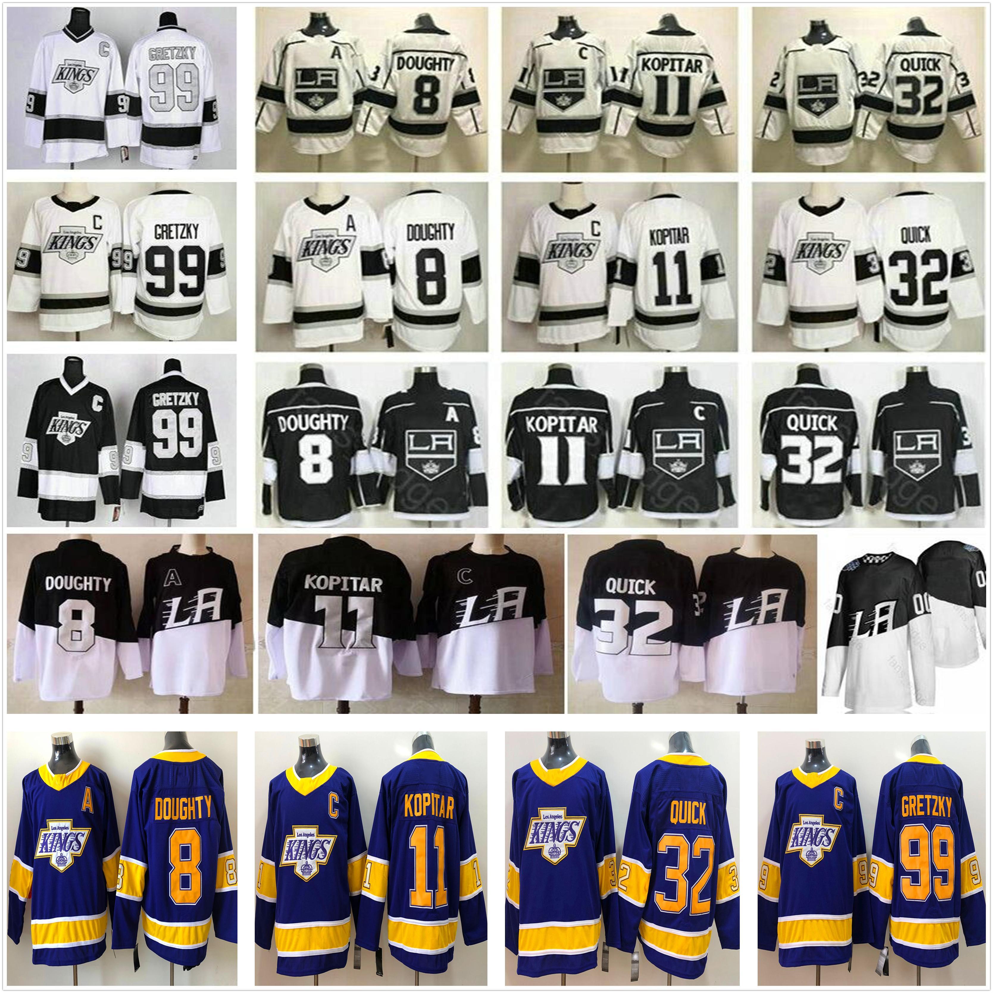 2021 عكس الرجعية لوس أنجلوس الملوك الهوكي الفانيلة 8 درو دوغتي 11 آنزي كوبيتار 32 جوناثان Quick 99 Wayne Gretzky Men Woman Kids Stadium سلسلة قميص