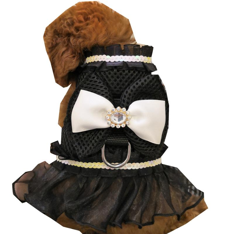 Bowknot pet فساتين المقاود دعوى مثير الدانتيل الحيوانات سترات الكلب الملابس الصيف تنفس تيدي الكلاب الملابس