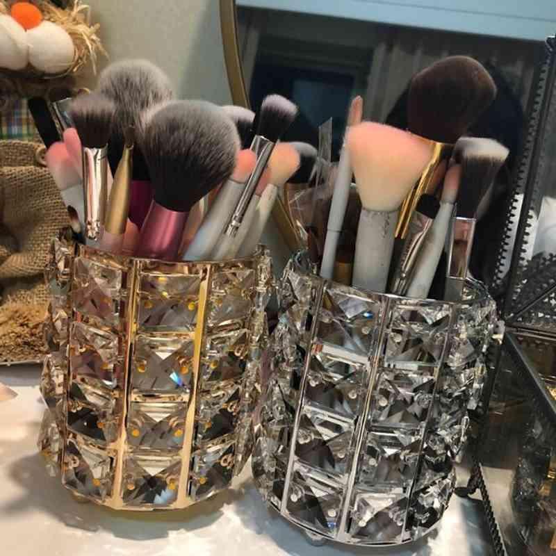 Mode Nouveau Crystal Clear Maquillage Brosse Organisateur Crayon Crayon Cosmétiques Porte-stylet Boîte de rangement de bureau 210331