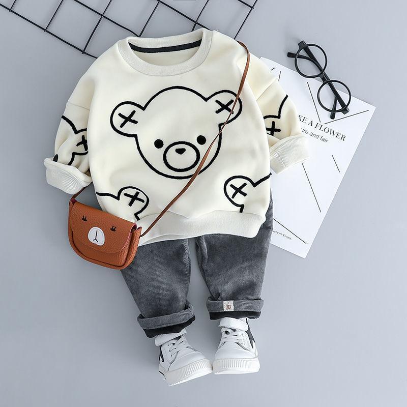 HYLKIDHUOSE Bebek Kız Erkek Giyim Setleri Sonbahar Kış Peluş Bebek Giysileri Takım Elbise Karikatür Çocuk Çocuklar Rahat Coat Y200829 421 Y2