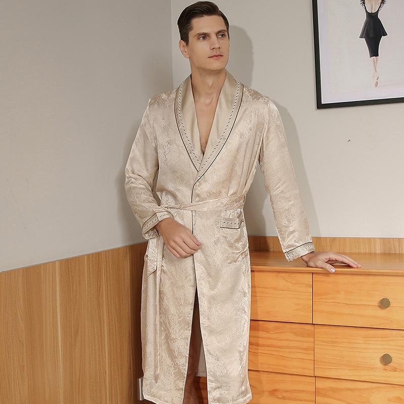 Männer Nachtwäsche Klassiker 100% Seide Männer Gewand mit Taille Gürtel Jacquard Eleganter Gentleman Bademantel SP0180