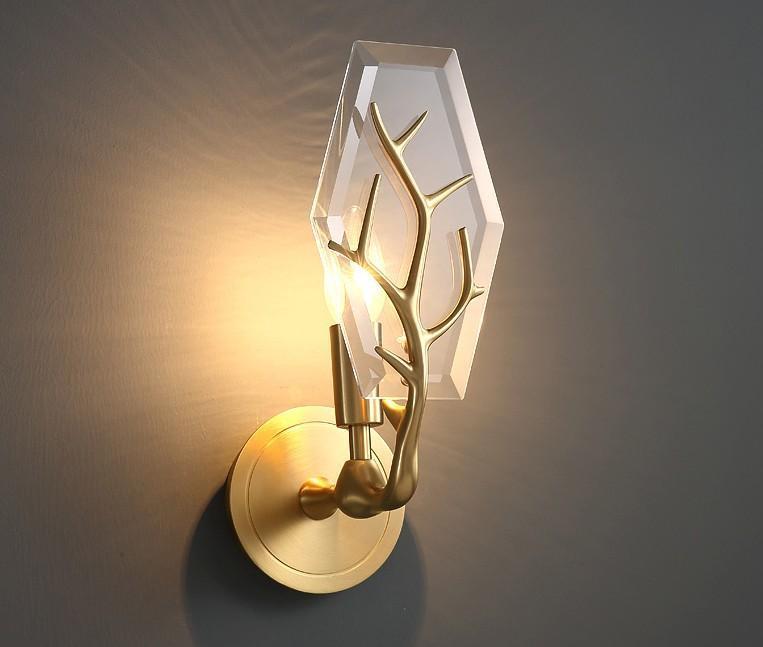 Lampada da parete di cristallo rame antlers creativo soggiorno camera da letto sfondo luce American Aisle decorativo classico