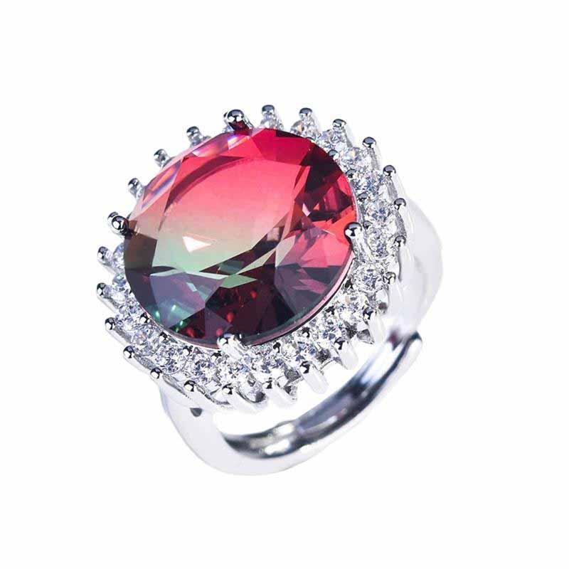 Esagerazione di lusso anelli regolabili dimensioni intarsio rotondo colorato zircone cubico zircone da sposa gioielli gioielli gioielli anniversario regalo