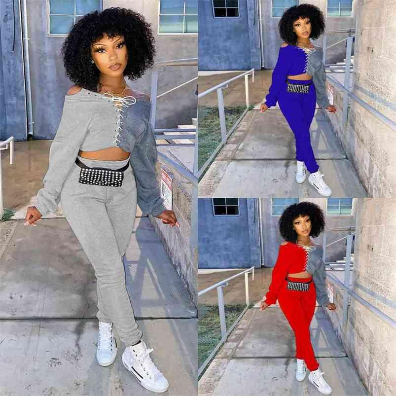 Women's color patchwork two piece outfits sportswear sport casual pants set lace up hoodie pullover blouse tops and sweatpants tracksuit Clothes G974LQI