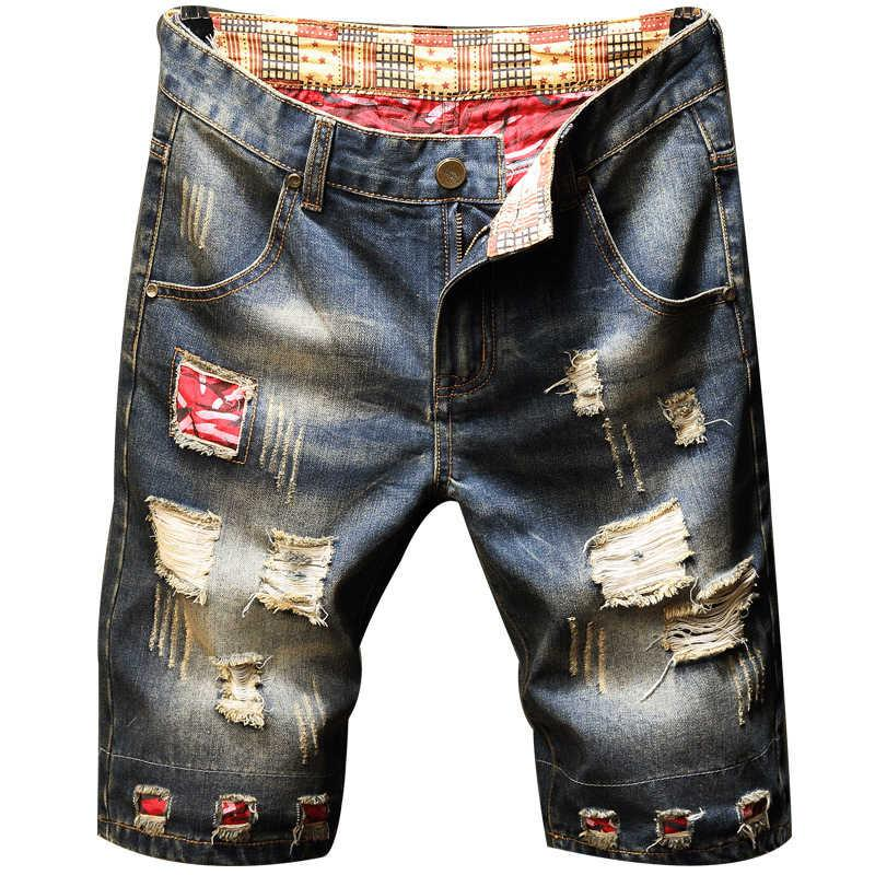 Style Men's Jeans middle pants with holes beggars' personalized cloth pasted straight shorts