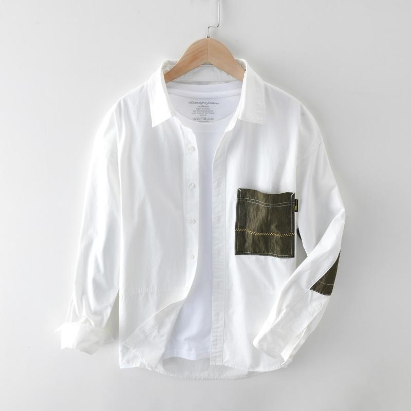 남자 고품질 패션 일본 하라주쿠 간단한 셔츠 패치 워크 포켓 긴 소매 야생 캐주얼 슬림 피트 코튼 세련된 탑스 남자