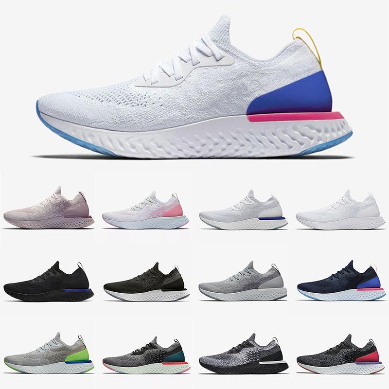Nike Epic React Flyknit 2 shoes 특혜 Epic React Fly Knit V2 V1 플리니트 남성 러닝 신발 모든 흰색 검은 빛 회색 로얄 그린 부르고뉴 남성 여성 스포츠 운동화 트레이너