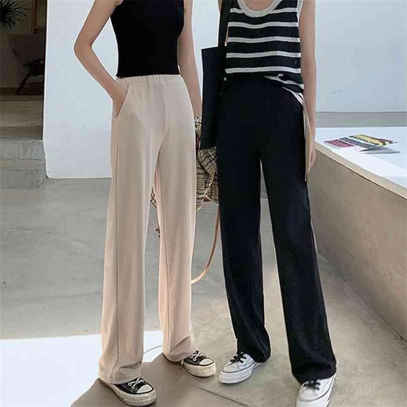 Slacks Women's Loose Summer Pants Soft Ice Silk Ankle-Length Black Wide Leg Grey Khaki Women High Waisted Trousers 210922