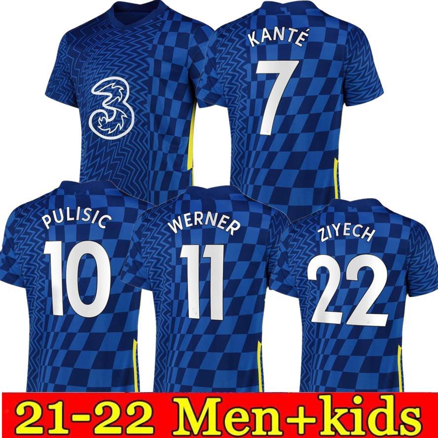 Ziyech Fussball Jersey Pulisic Mount Kante Havertz Werner Abraham Chilwell Giroud 2021 2022 Football Hemd 21 22 Herren + Kinder Jerseys Kit Set Uniformen