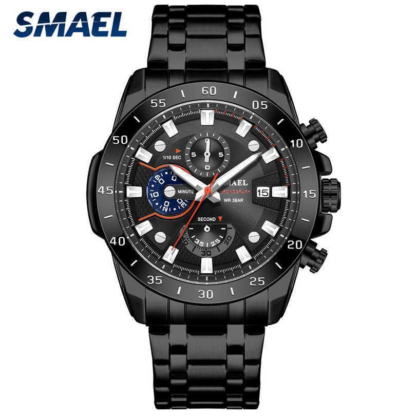 Smael Novo Causal Esporte Cronógrafo Homens Relógios de Aço Inoxidável Relógio de Relógio de Relógio de Relógio de Relógio de Quartz com ponteiros luminosos Y0524