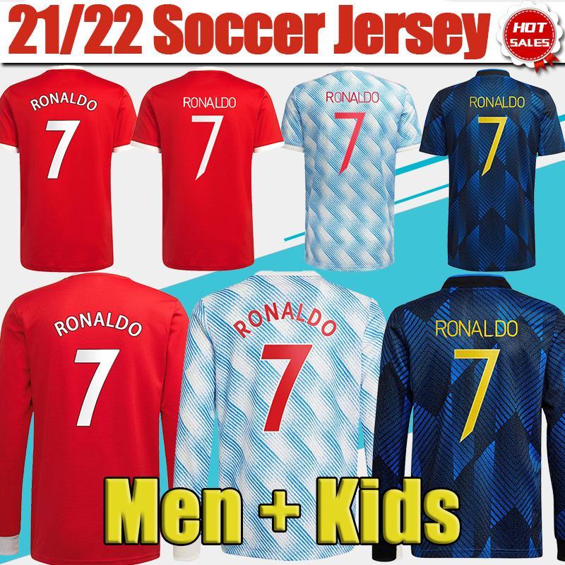 # 7 Ronaldo # 25 Sancho Home Rot Fussball Jersey 2021/2022 # 11 Greenwood # 18 B.Ferrandes Away Soccer Hemd 21/22 # 10 Rashford # 6 Pogba # 23 Shaw Football Trikots anpassen