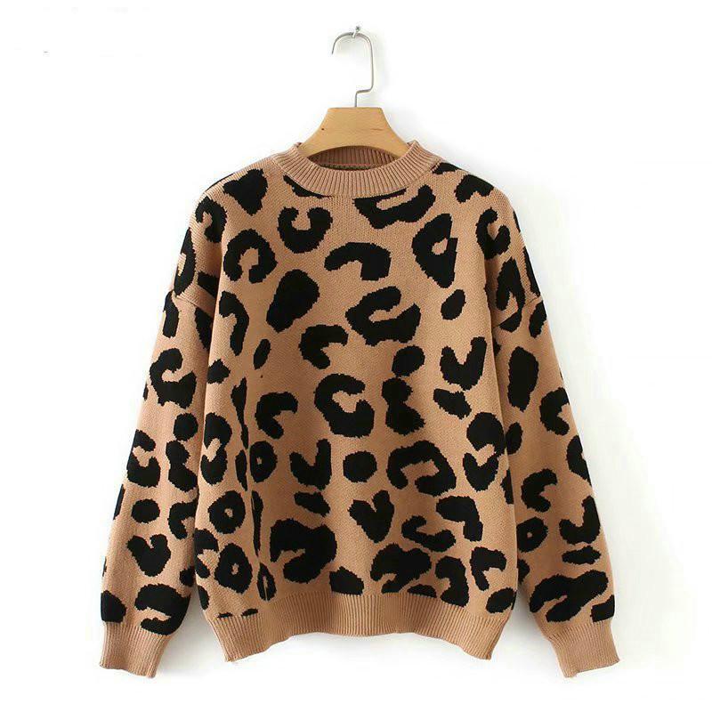 여성 표범 니트 스웨터 겨울 동물 인쇄 겨울 두꺼운 긴 소매 여성 풀오버 캐주얼 탑 DFF1221