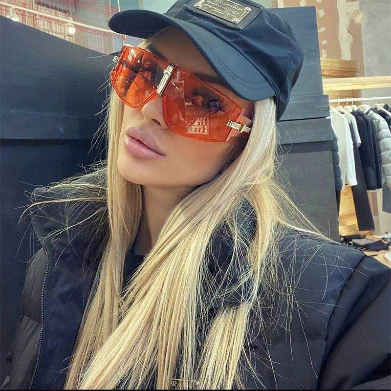 Haute Qualité Mode Big Cadre Homme Femme Unisexe Sunglasses Sports Pare-brise Eyewear Full Cadre UV400 7 couleurs en option
