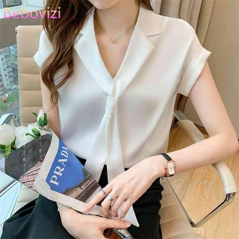 S-XXL Weiß Grün Rosa Mode Sommer Casual Kurzarm Fliege Bluse Tops für Frauen Büro Dame Arbeitskleidung 210603