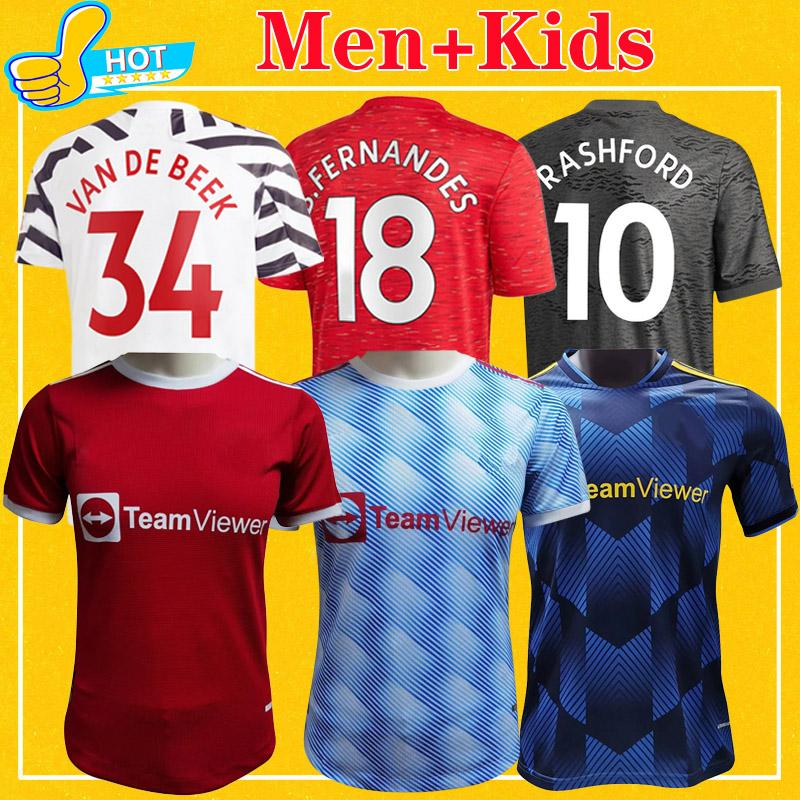 Manchester Soccer Jerseys 2021 2022 United Greenwood Utd Van de Beek B. Fernandes Rashford كرة القدم قميص 21 22 رجل + Kids Kit