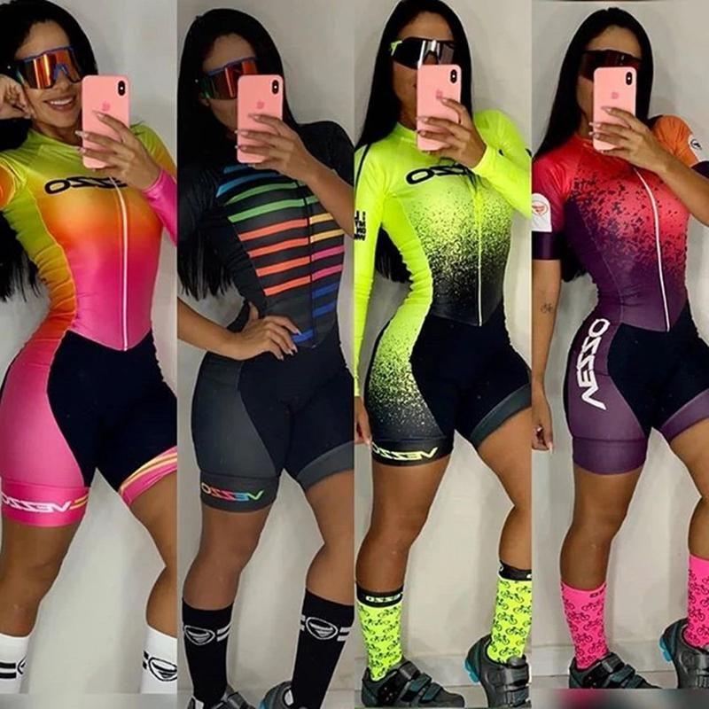 Racing Sets Women Cycling Skinsuit VEZZO Team Triathlon Road Running Clothing Short Sleeve