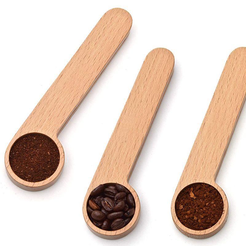 Деревянный кофе совок с сумкой зажимные столовые ложки твердой буковой древесины измерительный совок чай кофе в зернах ложка клип подарок DH5012