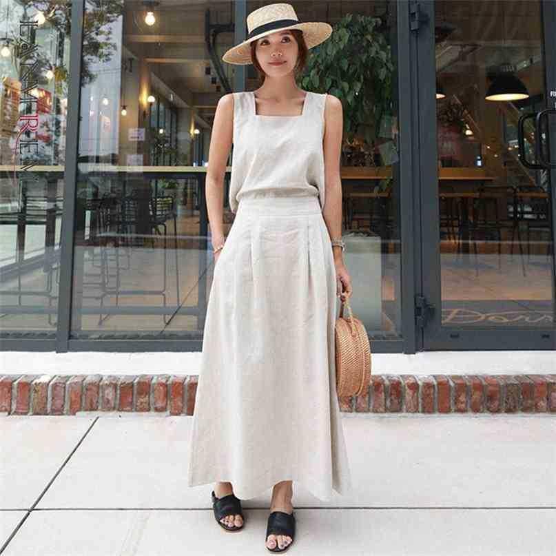 Robe suspendue d'été robe de coton sans manches Collier carré de coton long Robes de tempérament Fit Fit Fashion 2H203 210526
