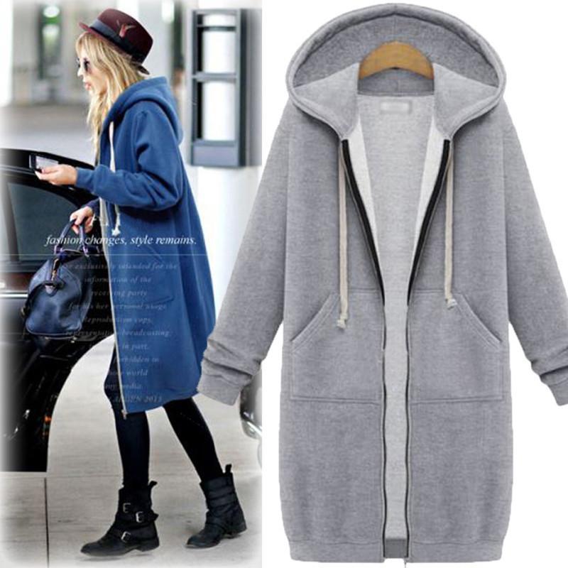 Hoodies das mulheres moletons wepbel mais o tamanho de veludo mulheres outono extensa-longo extra de mangas compridas cardigan casaco com capuz acolchoado