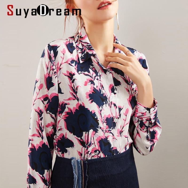 Suyadream frauen gedruckt blusen 100% seide crêpe long sleeved collar office bluse hemd 2021 frühling top frauen shirts