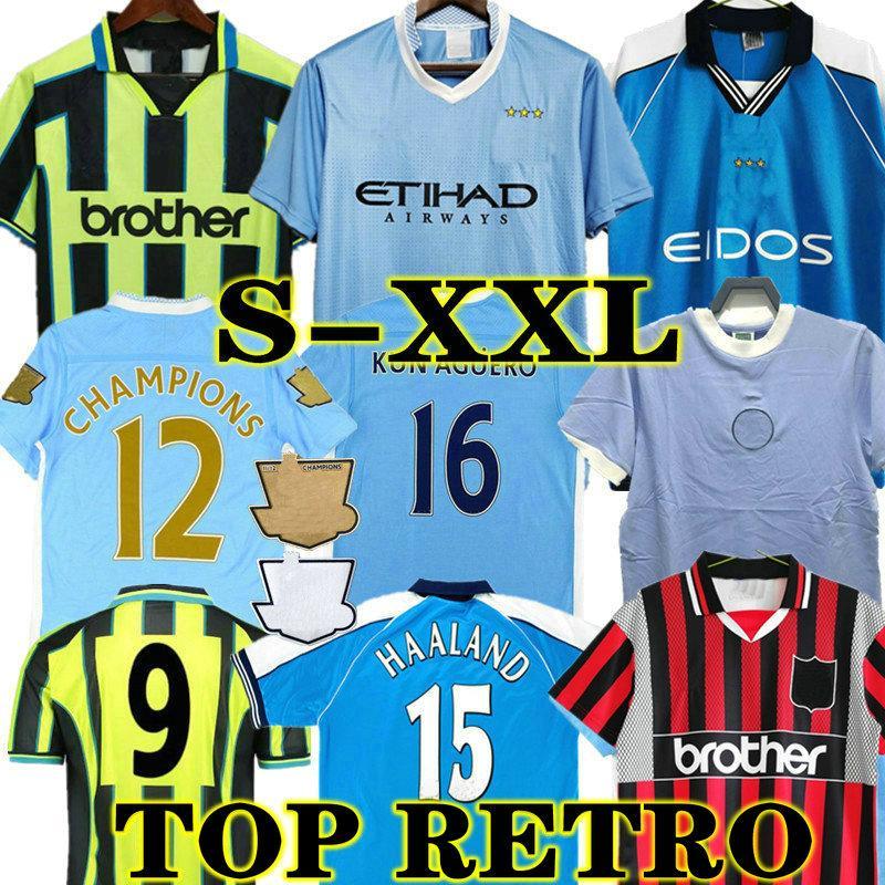 Toure Yaya Balotelli Retro 11 12 City Soccer Jersey 1972 Classic Final 2011 2012 رجل كون Aguero Dickov Tevez Haaland Goater 98 99 01 قميص كرة القدم خمر Kompany 88 89