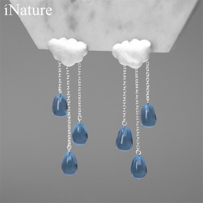 Inature 925 Sterling Prata Nuvem Design Longo Cristal Tassel Gota Brincos Para As Mulheres Moda Jóias Presentes 210706