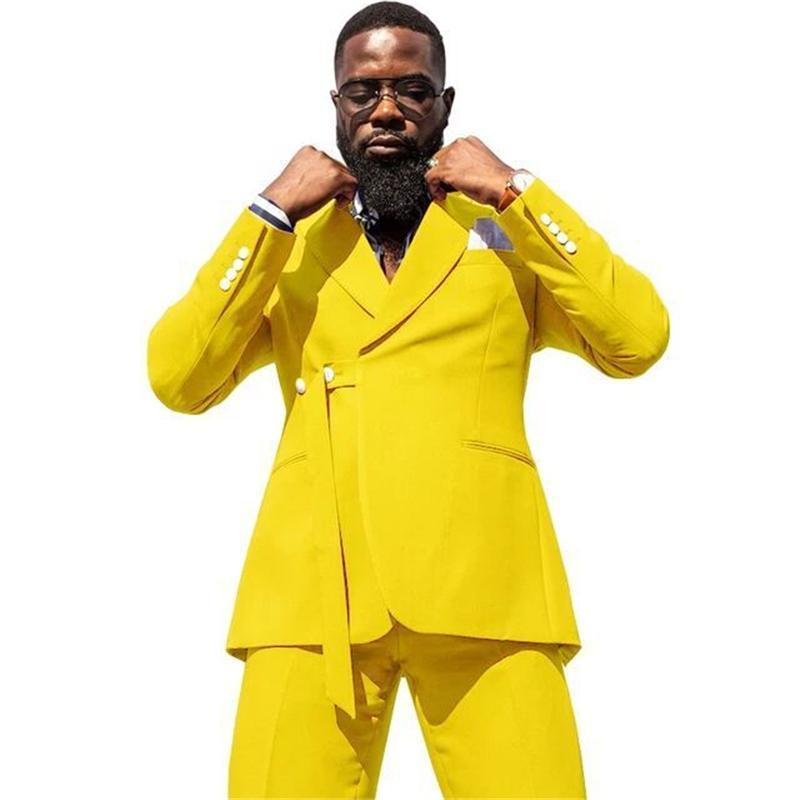 Sarı Erkekler Slim Uyuyor Sosyal Blazer Kostüm Yapımı Seyahat Rahat Iş Düğün Damat Adam Balo Ceket + Pantolon erkek Blazers