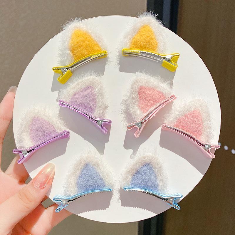 Haarschmuck 1 Paar Nette Mädchen Faux Pelz Ohr Haarnadeln Kinder Clips Baby Kinder Katze Plüsch Pins Headwear Geschenk
